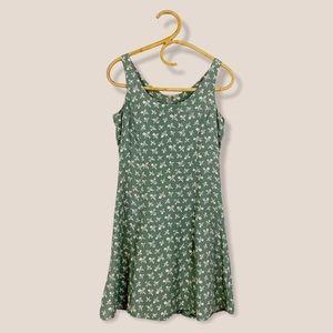 Vintage   Sage Green Floral Mini Dress